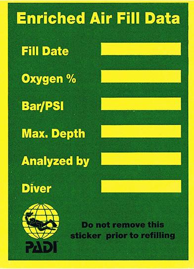 Eniriched Air Nitrox etykieta z infmracjami