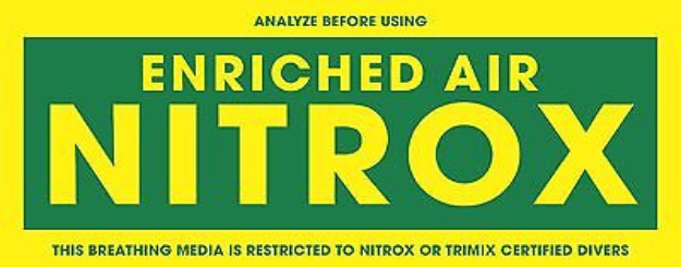 Enriched air nitrox etykieta oznaczjąca nitrox w butli
